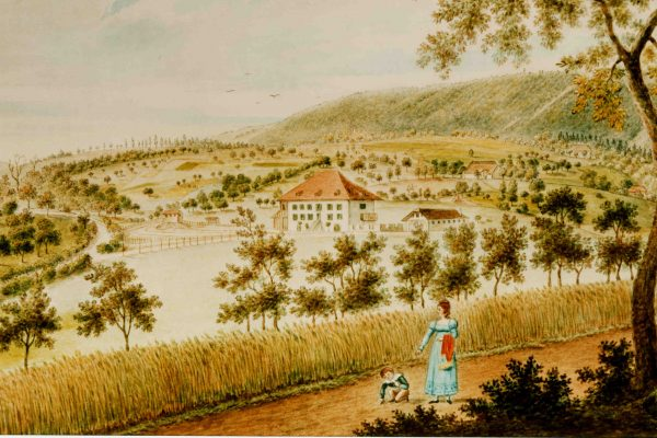 Bachtelenbad um 1823 von Martin Disteli Aquarell 1